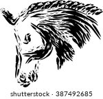 horse head vector draw | Shutterstock .eps vector #387492685