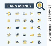 earn money icons  | Shutterstock .eps vector #387499417