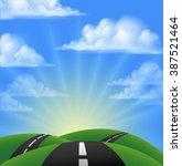 cartoon road going over hills... | Shutterstock .eps vector #387521464
