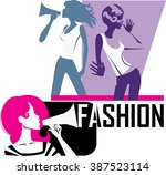 composition of girls yells into ...   Shutterstock .eps vector #387523114