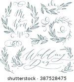 linear sketch wedding elements... | Shutterstock .eps vector #387528475