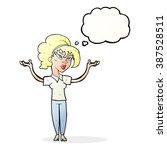 cartoon woman raising hands in... | Shutterstock .eps vector #387528511