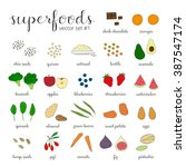 hand drawn superfoods isolated...   Shutterstock .eps vector #387547174
