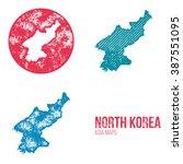 north korea grunge retro maps   ... | Shutterstock .eps vector #387551095