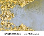 vintage card with golden roses... | Shutterstock . vector #387560611