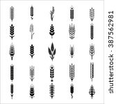 wheat ears icons and logo set.  ... | Shutterstock . vector #387562981