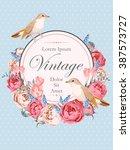 beautiful vintage vector card... | Shutterstock .eps vector #387573727