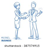 happy young man in business... | Shutterstock .eps vector #387574915