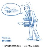 exhausted young man in business ... | Shutterstock .eps vector #387576301