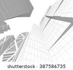 futuristic city buildings | Shutterstock . vector #387586735