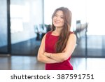 portrait of young woman... | Shutterstock . vector #387591751