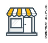 store shop   outline style icon | Shutterstock .eps vector #387592801