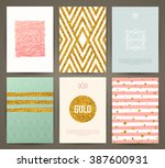 set of brochures in vintage... | Shutterstock .eps vector #387600931