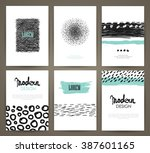 set of brochures in with hand... | Shutterstock .eps vector #387601165