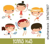tennis kids set. cute flat... | Shutterstock .eps vector #387607807