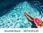 Girl Holding Watermelon In The...