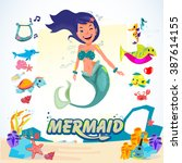 mermaid. character design with... | Shutterstock .eps vector #387614155