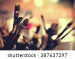 close up of different painting... | Shutterstock . vector #387637297