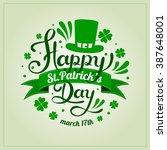 saint patrick's day hand... | Shutterstock .eps vector #387648001