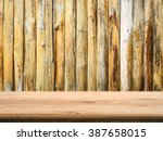 wooden counter top with grunge... | Shutterstock . vector #387658015