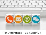 letter dice in front of a... | Shutterstock . vector #387658474
