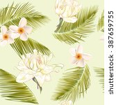 tropical flowers and palm... | Shutterstock .eps vector #387659755