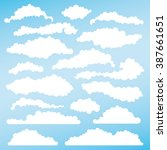 set of fluffy clouds for design ... | Shutterstock .eps vector #387661651