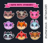 cute animal faces set  vector...
