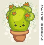 cute cartoon cactus | Shutterstock .eps vector #387667939