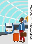 man with suitcase on wheels and ... | Shutterstock .eps vector #387669967