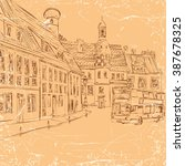 store street scene  vintage...   Shutterstock .eps vector #387678325