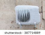 air conditioner with frozen ice ... | Shutterstock . vector #387714889