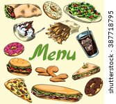 cover for menu. fast food.... | Shutterstock .eps vector #387718795