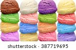 Stock photo colorful ice cream scoops on white background 387719695