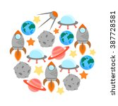 space theme   set of flat... | Shutterstock .eps vector #387728581