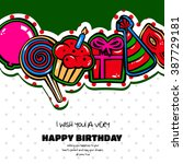 birthday card with items ...   Shutterstock .eps vector #387729181