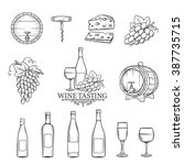 hand draw wine icons set on... | Shutterstock .eps vector #387735715