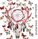 Deer skull  seamless pattern. Animal skull with dream cather and butterfly. Deer skull and ethnic dreamcatcher with butterfly seamless pattern on white background. Watercolor illustration.