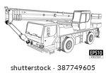 crane truck wireframe   eps10... | Shutterstock .eps vector #387749605