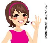 happy woman wearing casual... | Shutterstock .eps vector #387754357