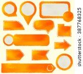 set of orange painted design... | Shutterstock .eps vector #387768325