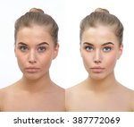retouch   face of beautiful... | Shutterstock . vector #387772069