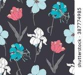 vector colorful vintage flowers ... | Shutterstock .eps vector #387774985