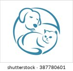 Stock vector dog and cat abstract circle 387780601