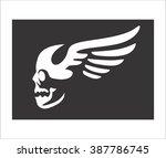 skull wings black background   Shutterstock .eps vector #387786745