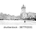 prague city hand drawn sketch.... | Shutterstock .eps vector #387792031