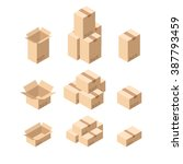 set of isometric cardboard... | Shutterstock .eps vector #387793459