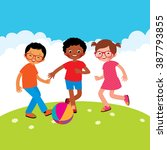 group of kids playing with a... | Shutterstock .eps vector #387793855