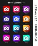 photo camera set for icon...