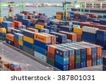 container terminal in... | Shutterstock . vector #387801031